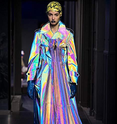 (140cm Elastic Symphony Laser Knitting Fabric Thin Colorful Background Garment Bags Reflective Strips Luxury Tweed Fabrics C577)