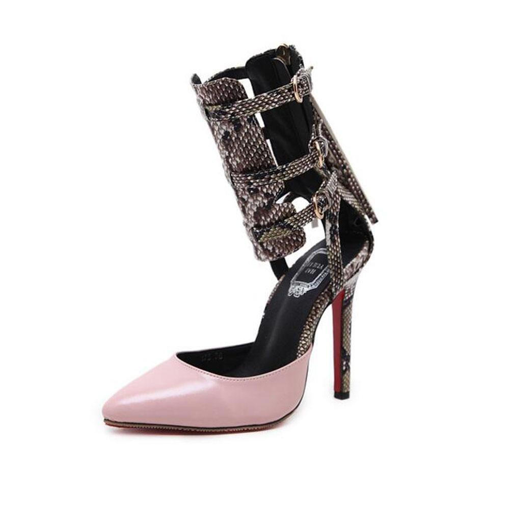YWNC Serpentine Mode Damenschuhe Sandalen Guuml;rtelschnalle Openwork Zuruuml;ck Zip Explosionen Spitz Fein Hoch Hilfe Nauml;hte Multicolor  35|pink