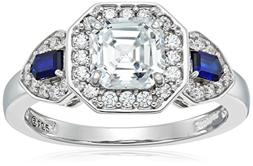 Platinum-Plated Sterling Silver Swarovski Zirconia Antique Asscher-Cut  and Created Sapphire Ring