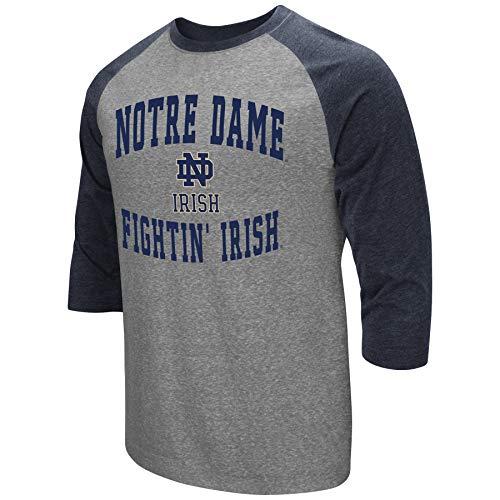 Colosseum Men's NCAA-Raglan-3/4 Sleeve-Heathered-Baseball T-Shirt-Notre Dame Fighting Irish-Large