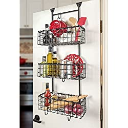 Handcrafted 3 Basket Wrought Iron Grid Over the Door Organizer, Matte Black