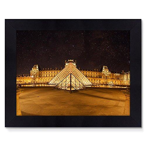 Quadro Moldura Preta 48x38cm Fotografia Louvre Night