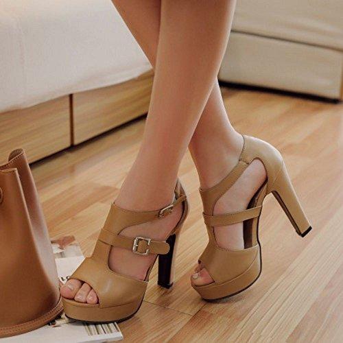Two Al Toe Hebilla Mujer COOLCEPT Hot Peep Albaricoque Tacon Vestir Tobillo Sandalias Alto Sale Clasico wqYn8a4