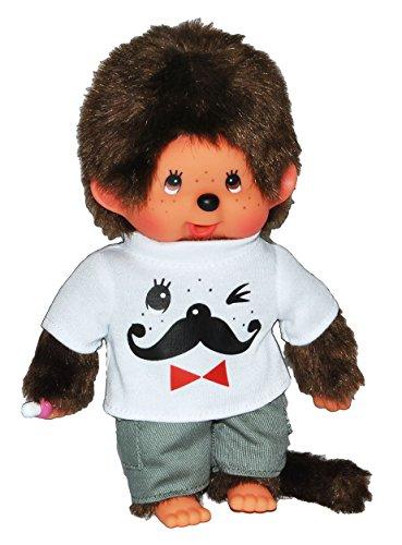 Junge Monchhichi - mit T-Shirt und Hose - Bart Moustache - 20 cm Monchichi Bekleidung Schnurrbart Gesicht lustig