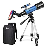 TELMU 70mm Telescope Portable Travel Scope Astronomy Telescope for Kids and Beginners Trusted Refractor Telescopes with Universal Wheel Tripod (Rucksack& Mobile Stands Included)