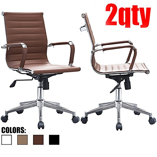 Set of Two (2) - Brown - Eames Modern Mid Back Ribbed PU Leather Swivel Tilt Adjustable Chair Designer Boss Executive Management Manager Office Conference Room Work Task Computer by 2xhome