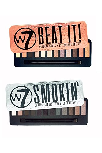 Irridescent Natural - W7 Beat It Natural Nudes & Smokin' Shades Eyeshadow Palette Set