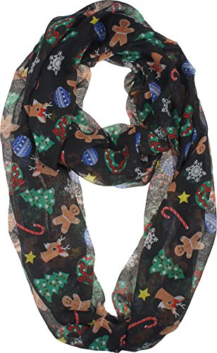 Vivian & Vincent Soft Light Elegant Merry Christmas Sheer Infinity Scarf C2