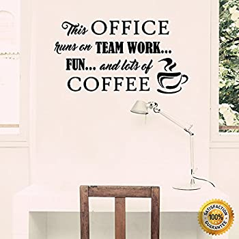Wall decals teamwork coming together is a beginning for Office interior design quotes
