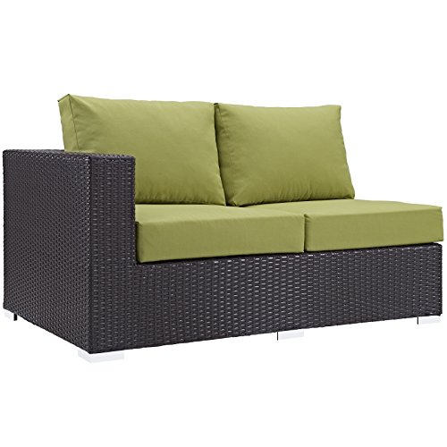 Modway Convene Wicker Rattan Outdoor Patio Left Arm Loveseat in Espresso - In Stores Manhattan
