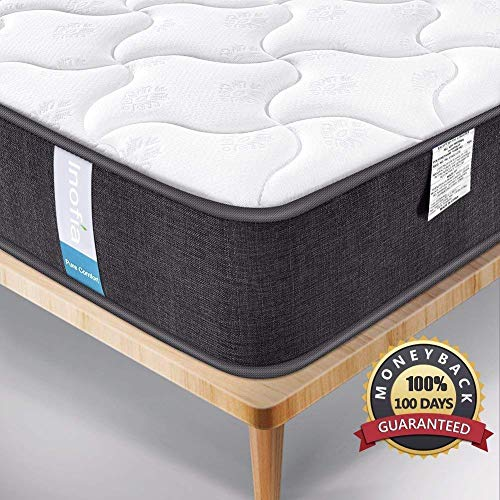 Single Mattress, Inofia Hybrid Innerspring Twin Mattress with Super Comfort Breathable Cover-9 Inch Depth-100 No Risk Night Trial