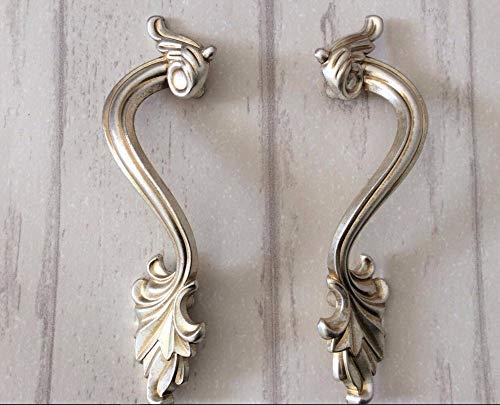 (Pair Dresser Pulls Drawer Knobs Handles Cottage Kitchen Cupboard Pulls Hardware/French Cabinet Handles Knob Ornate 78mm )