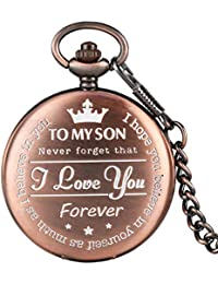 Engraved Pocket Watch, Red Copper