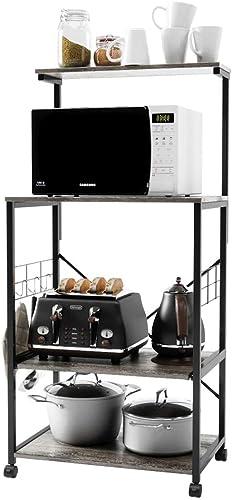 Bestier Kitchen Baker's Rack Utility Storage Shelf Microwave Stand Cart on Wheel