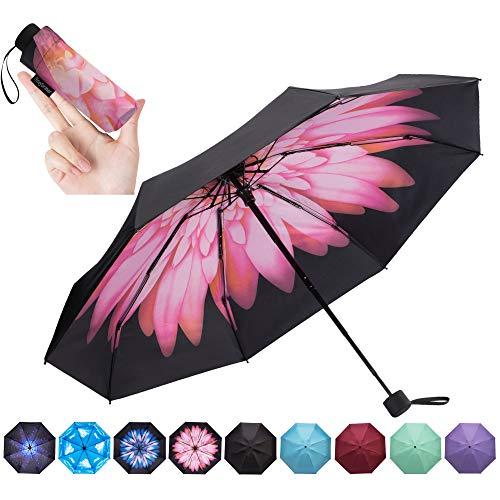 NOOFORMER Mini Travel Umbrella -95% Anti-UV Lightweight Compact Small Folding Sun Umbrellas -8 Ribs