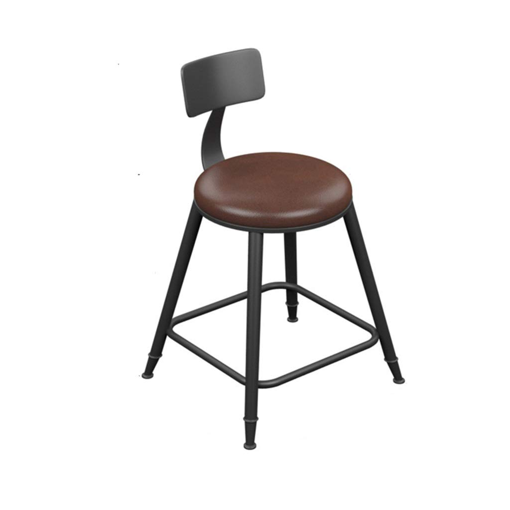 With backrest 45cm high Retro Iron Art Bar Stool High Leg Chairs Modern Simple Kitchen Household Seat Backrest Design Sturdy Non-Slip 0522A (color   with backrest, Size   68cm high)