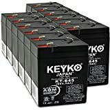 Carpenter Watchman 610518 Battery 6V 4.5Ah Fresh & Real 4.5Amp AGM/SLA Rechargeable Replacement Designed for Lighting - Genuine KEYKO - F1 Terminal - 12 Pack