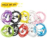 Life.Idea 3.5mm Color Headphones - Pack of 50 Pairs, 8 Assorted Colors, Simple Headphones Earbuds Bulk for iPhone iPad ChromeBook MP3 Library Schools Students Kids (Colored 50 Pack)