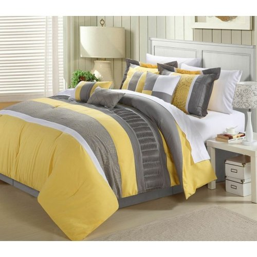 Perfect Home West Coast 8-piece Comforter Set King Size Yellow, Bedskirt Shams and Pillows Included price