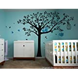 PopDecors - Nursery Tree with Cute Owls A- Free Squeegee and color change - Nursery Tree Decals Baby Wall Decors Kids Wall Stickers Owls Decal