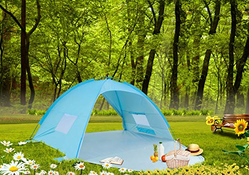 (ALPIKA Beach Tent Sun Shelter 2-3 Person Camping Tent UV Protection Easy Setup Tent for)