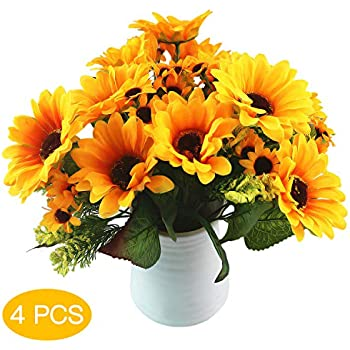 Riverbyland Artificial Flowers Bunches of 3 Yellow Sunflowers jh8072