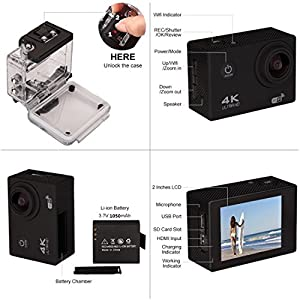 Action Camera 4k Wifi Ultra HD Waterproof DV Camcorder 16MP 170° Degree Wide Angle Lens Sport Camera Wifi Control Sport DV Including 2 Rechargeable Battery(1350mAh) And Full Accessories Kits
