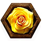 Thai Hand-Carved Soap Flower, 4 Inch Scented Soap Carving, Yellow Rose In Decorative Pine Wood Case