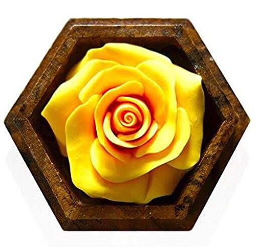 Thai Hand-Carved Soap Flower, 4 Inch Scented Soap Carving, Yellow Rose In Decorative Pine Wood Case by Thai Decorated