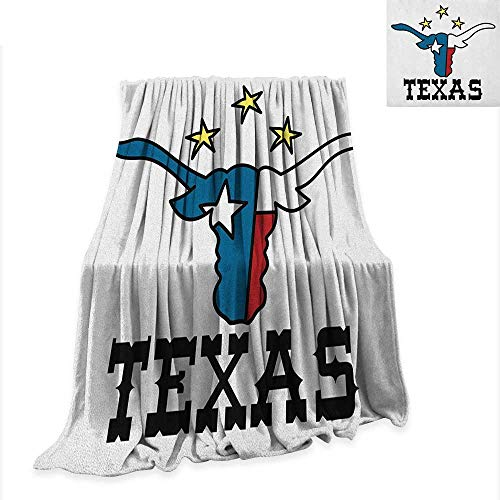 - Anyangeight Texas Star Digital Printing Blanket Doodle Style Buffalo Head with Horns Texas Flag and Vintage Letters Cowboy Theme 80