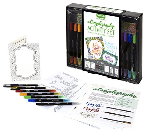 Crayola Beginner Hand Lettering Kit with Tutorials, Easier Than Calligraphy, 45 Pieces, Stocking Stuffer, Gift, Multicolor ()