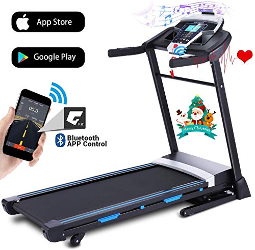 ANCHEER Folding Treadmill, 3.25HP Automatic Incline Treadmill, Walking Running Jogging Running Machine with APP Control for Home Gym Cardio Fitness