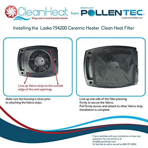 Space Heater Filter Compatible with Lasko 754200 Electric Ceramic Portable Space Heater, Filters 98% Airborne Pollens, Dust & Molds, Washable, Reusable, Made in USA by Pollentec (Image #5)
