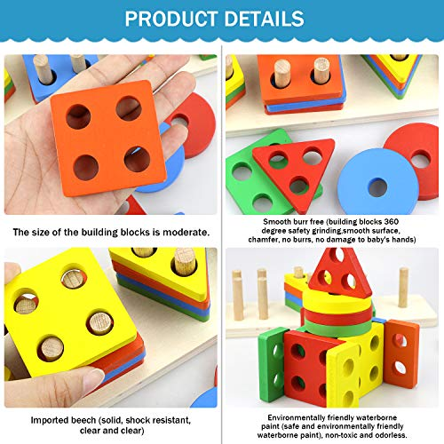Gifort Wooden Educational Toy Stack & Sort Puzzle Toys Preschool Educational Shape Color Recognition Geometric Board Block , for Children Kid Baby Toddler Boy Girl