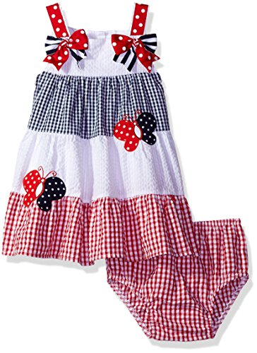 Rare Editions Baby Girls' Seersucker Dress, Red/White/Navy, 18M - Rare Editions Baby Dresses