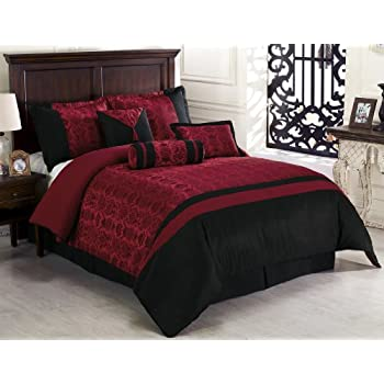 Amazon Com Chezmoi Collection Dynasty Jacquard 7 Piece Comforter