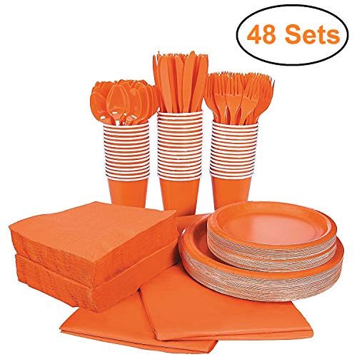 396 Piece Halloween Disposable Dinnerware Set, Serves 48, Orange Paper Party Plates and Cups, Tableware Includes Cutlery…