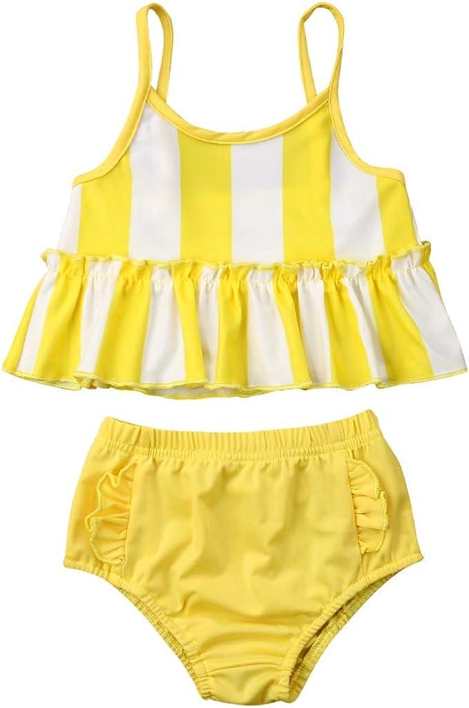Jojobaby Baby Girls Flamingo Ruffles Vest Tops and Bowknot Shorts Bottom Outfits Set