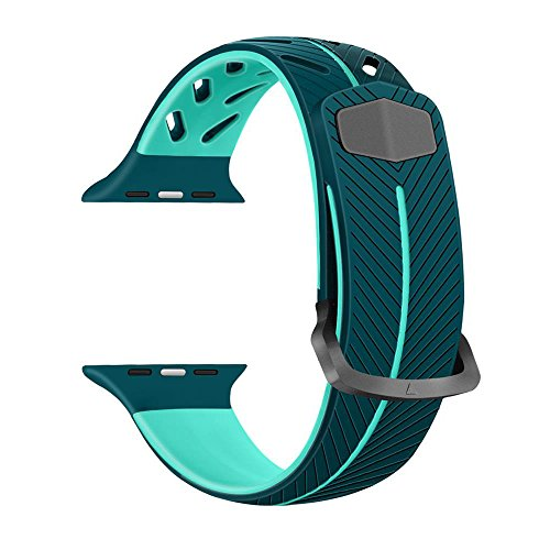 - KoudHug Compatible with iWatch Band 38mm, Soft Silicone Sport Strap Replacement Bands Compatible with iWatch Series 3/2/ 1/ Eco-Friendly Materials, Multi Colors Available (Green/Mint)
