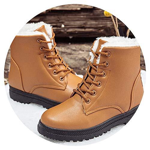 Black Boots Women Winter Shoes Women's Boot Classic Style Ankle Boots for Woman Snow Booties Warm Shoes Plus Size,Yellow,8.5 for $<!--$37.40-->