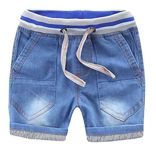 MMWORM Toddler Boys Jeans Short Pants Blue Jeans Denim Shorts Elastic Belt with - Drawstring Unisex Denim Pant