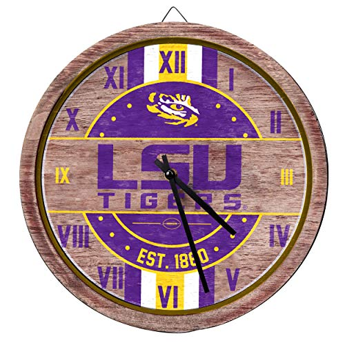 FOCO NCAA LSU Tigers Team Logo Wood Barrel Wall ClockTeam Logo Wood Barrel Wall Clock, Team Color, One Size
