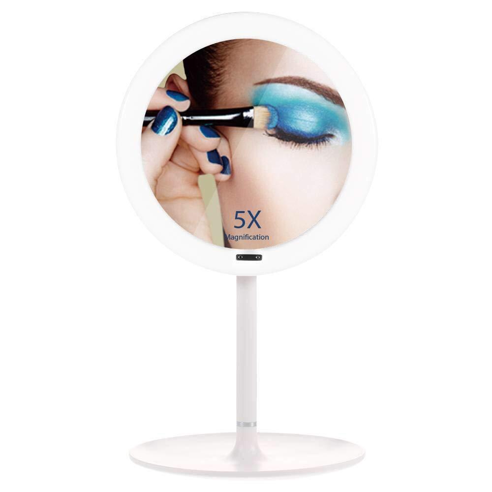 Coralov Specchio per il trucco con sensore automatico a infrarossi e ingrandimento 5X, LED orientabile a 360 ° Specchio per il trucco illuminato, specchio per il trucco con luce soffusa (5 X)
