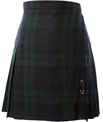 iLuv Ladies Knee Length Wool Kilt Skirt Black Watch Tartan