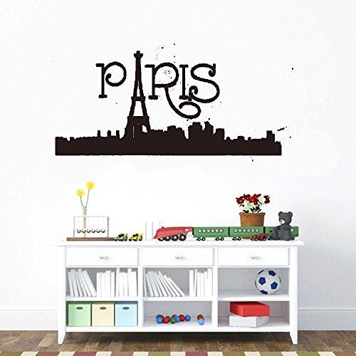 ckers art decor decals Lafayette Paris Skyline for bedroom home décor ()