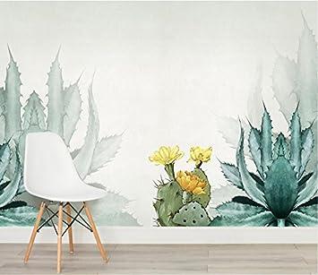 Papier Peint 3d Base Cactus Mur Style Nordique Aquarelle Moderne