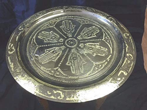 Moroccan Traditional Tea Table Engraved Brass Tray Top Folding Carved Wood 19.5