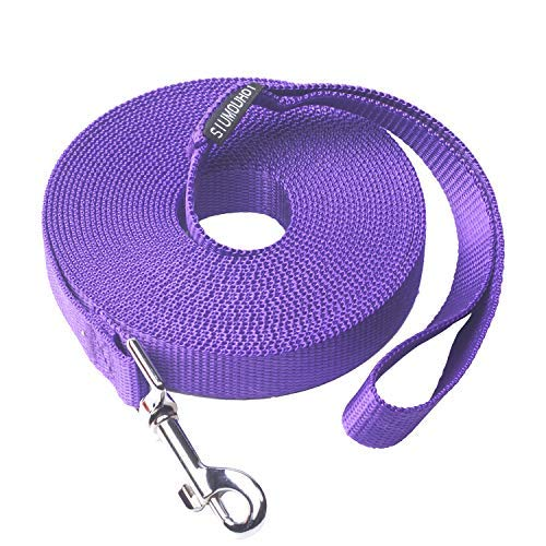 Siumouhoi Dog/Puppy Subject to Recall Training and Behavior Training Aided Rope-15 ft 20 ft 30 ft 40 ft 50 ft Training Leash, Extended Rope for Training. (20Feet, Purple) (Cotton Training Leash)