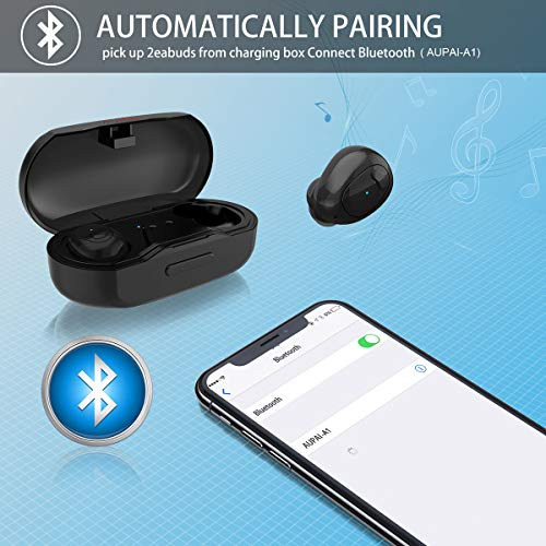 AUPAI Wireless Earbuds, Upgraded 5.0 Bluetooth Headphones IPX7 Water-Resistant True Wireless Stereo Deep Bass Hi-Fi Sound Noise-Canceling Lightweight Sports Earphones with Microphone Volume Control
