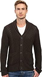 7 For All Mankind Men\'s Chunky Shawl Collar Cardigan Sweater, Olive, Large